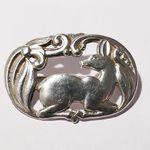 Eiler & Marløe E&M Kopenhagen Copenhagen Dänemark Danmark Denmark Brosche brooch 830S silver Silber deer Reh